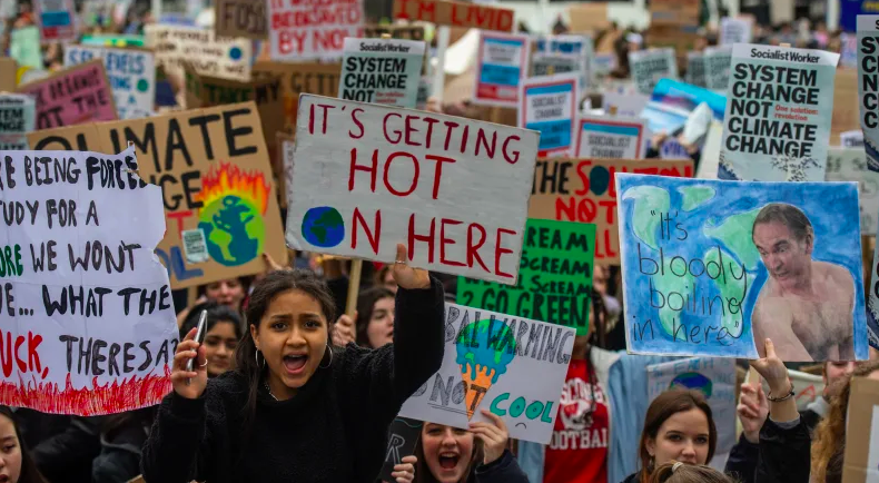 A climate change protest in London Photo: Getty