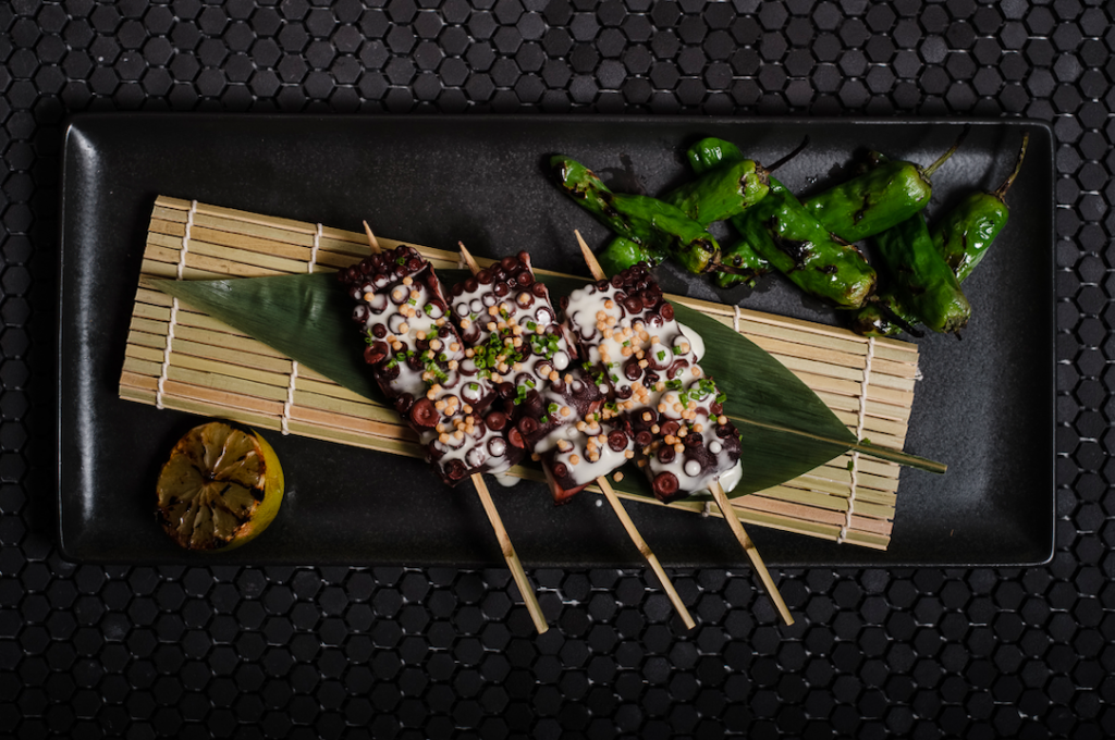 Robata-grilled octopus with saikyo miso dressing and padron peppers