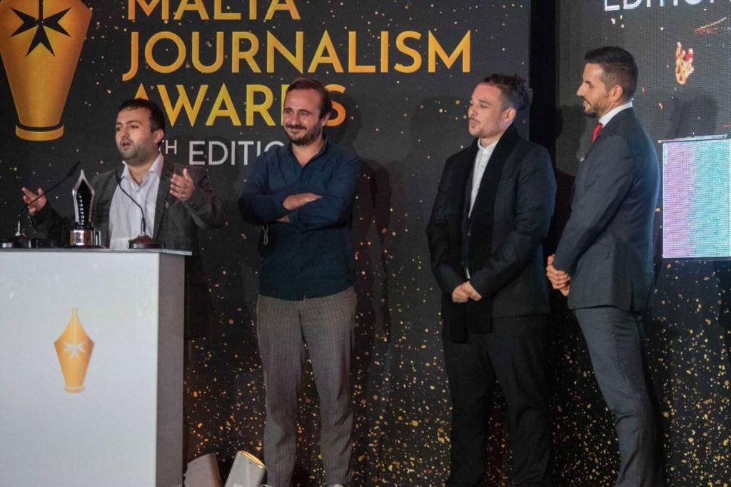 The Lovin Malta team accepting the award as News Strategist Tim Diacono gives a short speech