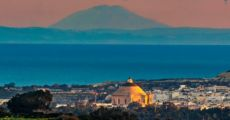 This Incredible Shot Of Mount Etna Over The Mosta Rotunda Is The Perfect Pastel Picture