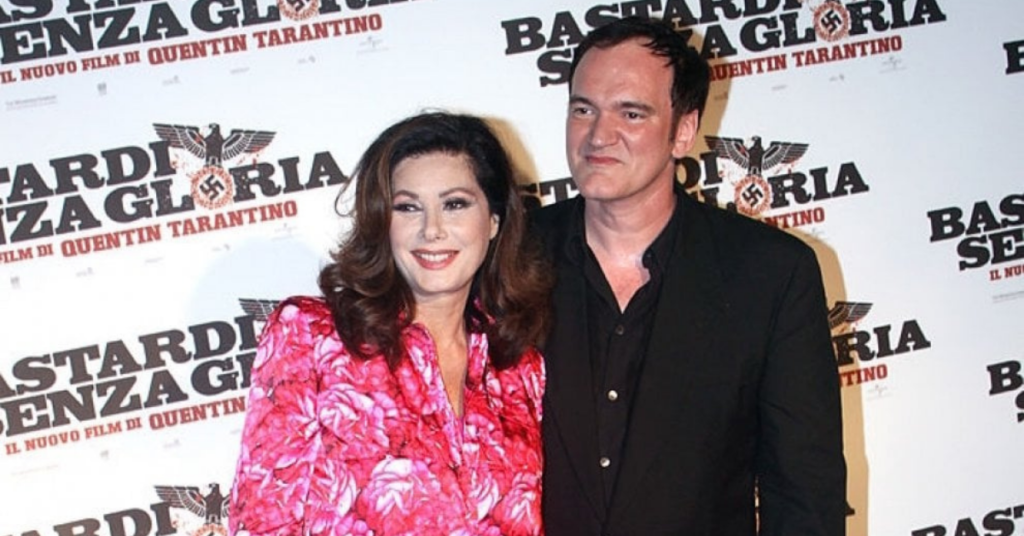 Edwige Fenech and Quentin Tarantino at the Italian premier of Inglourious Basterds