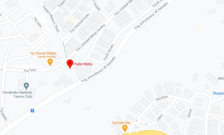 The location of Padel Malta